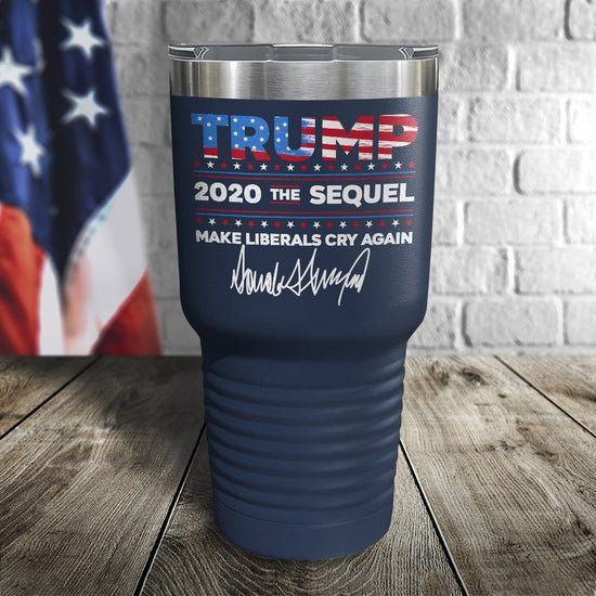 Trump 2020 The Sequel Signature Flag Navy 30oz Color Printed Tumbler