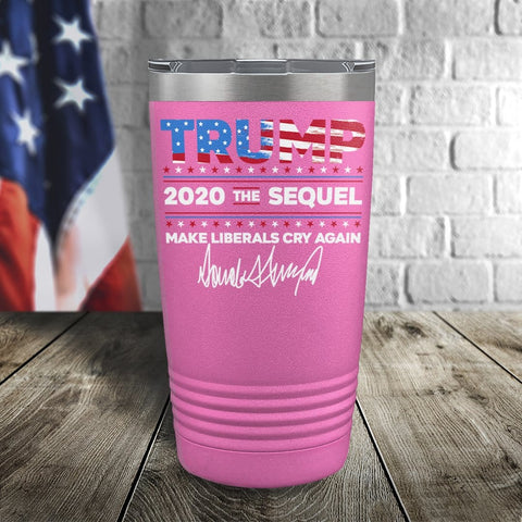 Trump 2020 The Sequel Signature Flag Pink 20oz Color Printed Tumbler