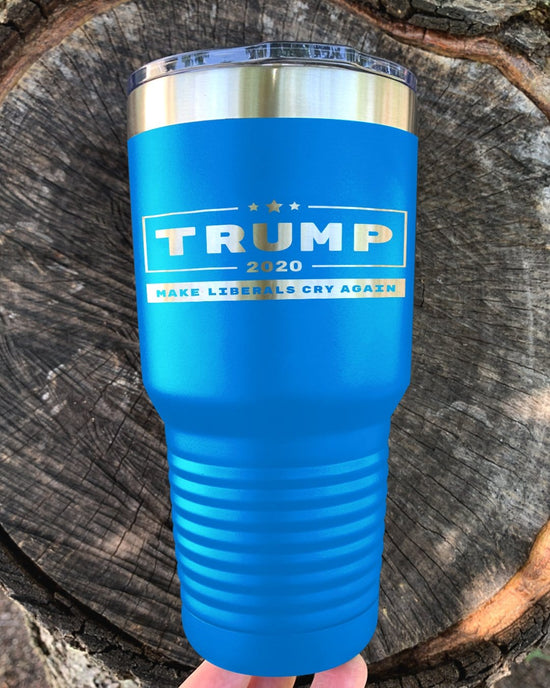 Trump 2020 Make Liberals Cry Again Laser Etched Tumbler