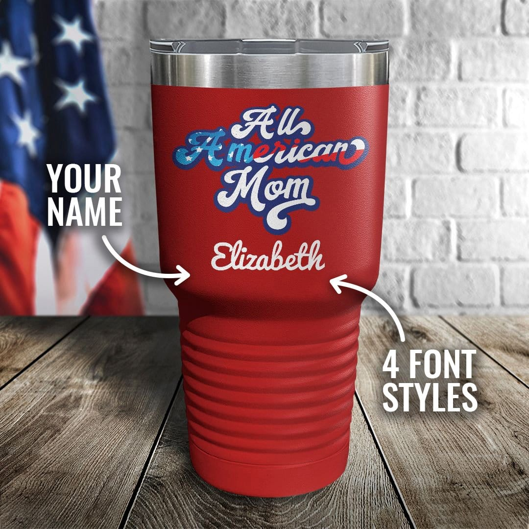 All American Mom Personalized Color Printed Tumbler