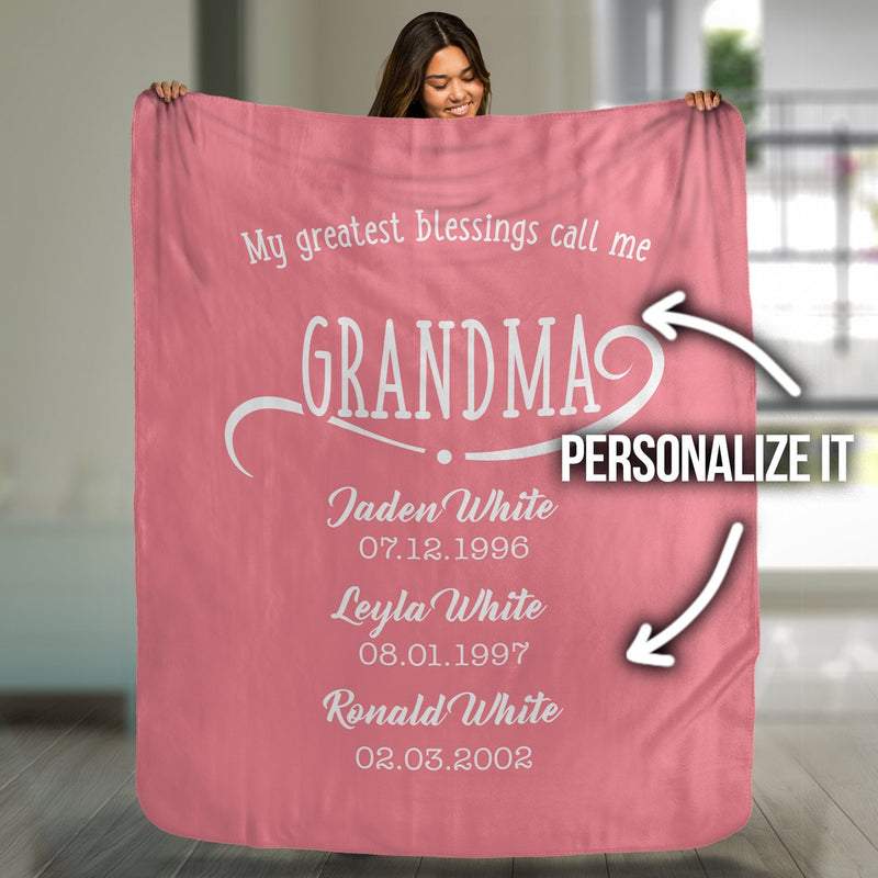 My Greatest Blessings Call Me Personalized Blanket - Canvas Zone