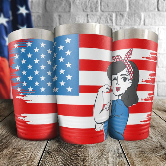 Rosie The Riveter U.S. Flag Full Color Wrap Tumbler