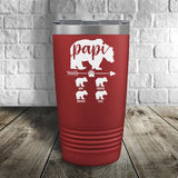 Papi Bear Personalized Color Printed Tumbler