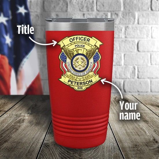 Police Badge Color Printed Tumbler