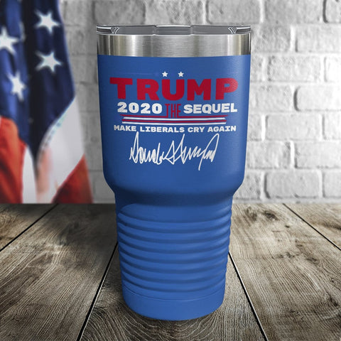 Trump 2020 The Sequel Signature Blue 30oz Color Printed Tumbler