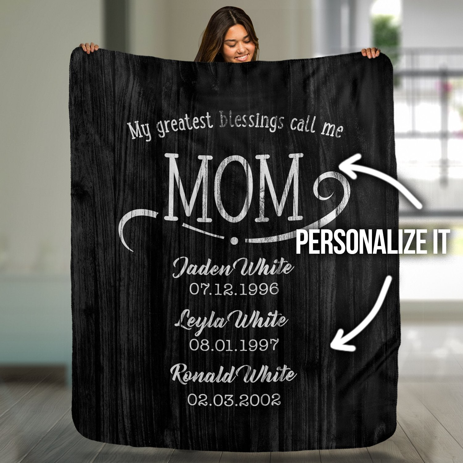 My Greatest Blessings Call Me Personalized Rustic Blanket - Canvas Zone