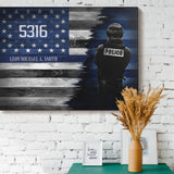 Thin Blue Line Personalized Canvas