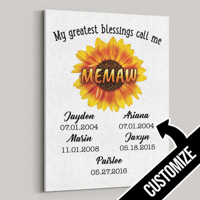 My Greatest Blessings Call Me Memaw Sunflower Canvas - Patriot Republic