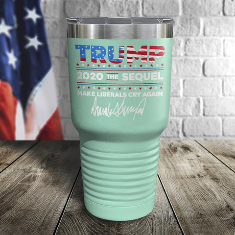 Trump 2020 The Sequel Signature Flag Teal 30oz Color Printed Tumbler