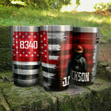 Thin Red Line Personalized Full Color Wrap Tumbler