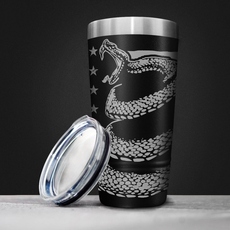 Don't Tread on Me Greyscale Full Wrap Tumbler