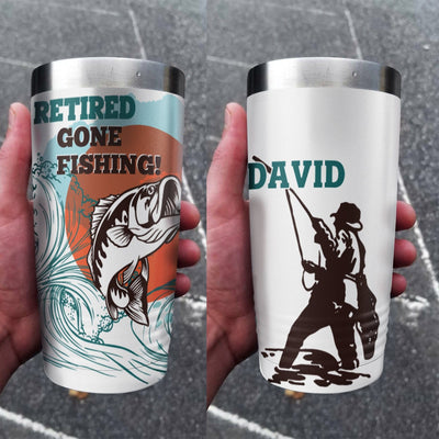 Retired Gone Fishing Personalized Full Color Wrap Tumbler