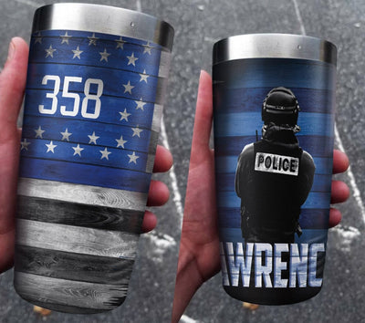 Thin Blue Line Personalized Full Color Wrap Tumbler