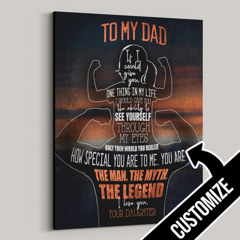 To My Dad - From Daughter Personalized Canvas
