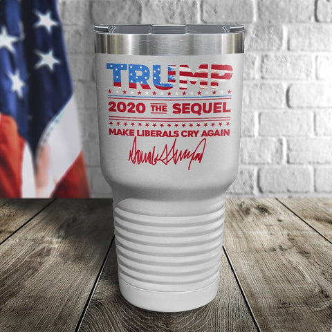 Trump 2020 The Sequel Signature Flag White 30oz Color Printed Tumbler