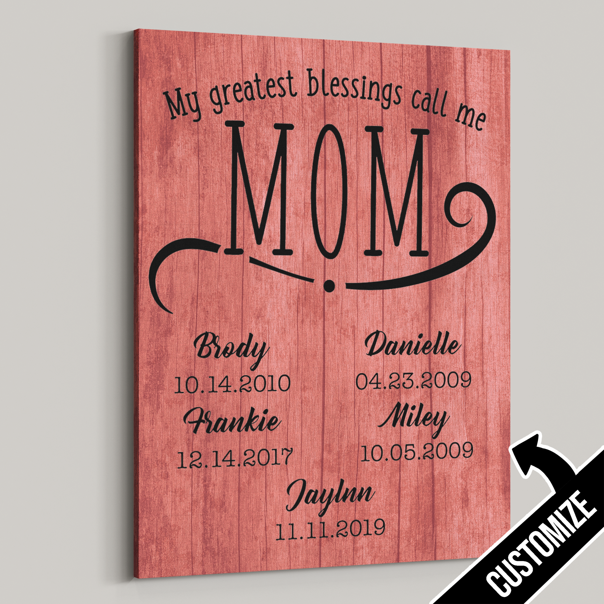 My Greatest Blessings Call Me Mom Rustic Split Canvas - Patriot Republic