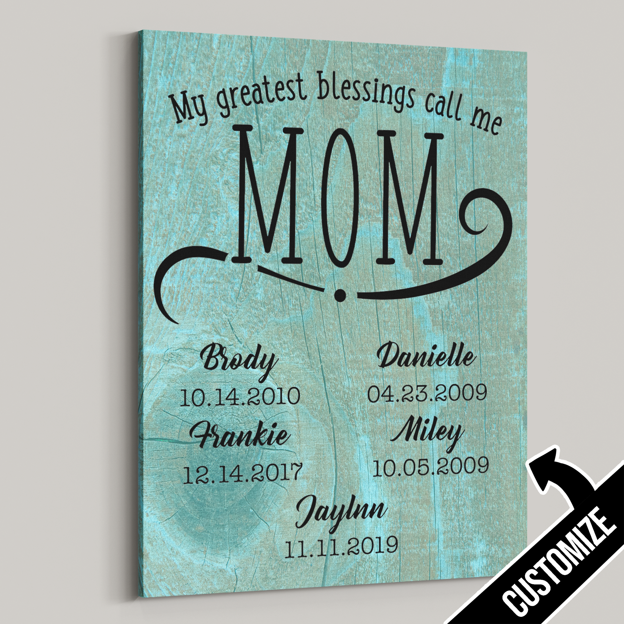 My Greatest Blessings Call Me Mom Rustic Wood Knot Canvas - Patriot Republic
