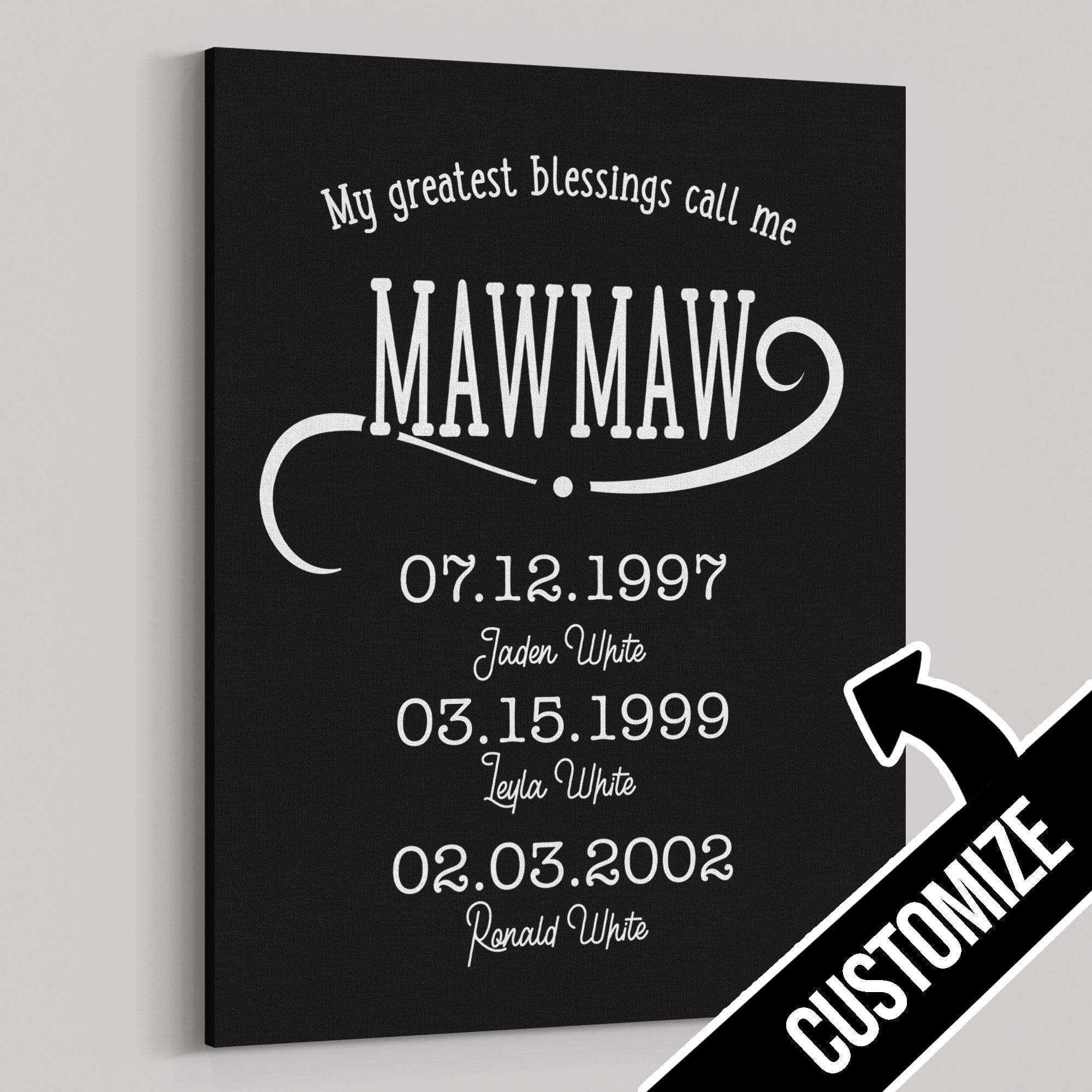 My Greatest Blessings Call Me Mawmaw Personalized Canvas - Canvas Zone