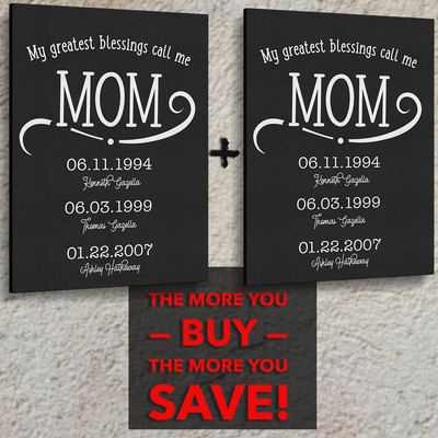 My Greatest Blessings Call Me Mom Pink Marble Canvas - Patriot Republic