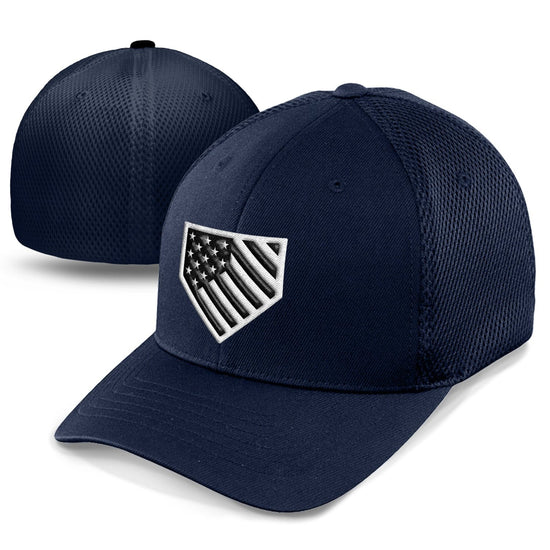 Home Plate Black And White USA Flag Hat