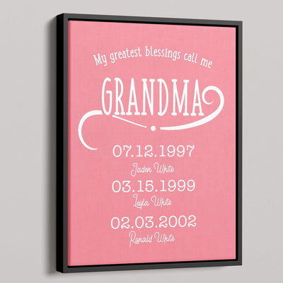 My Greatest Blessings Call Me Grandma Personalized Canvas - Canvas Zone