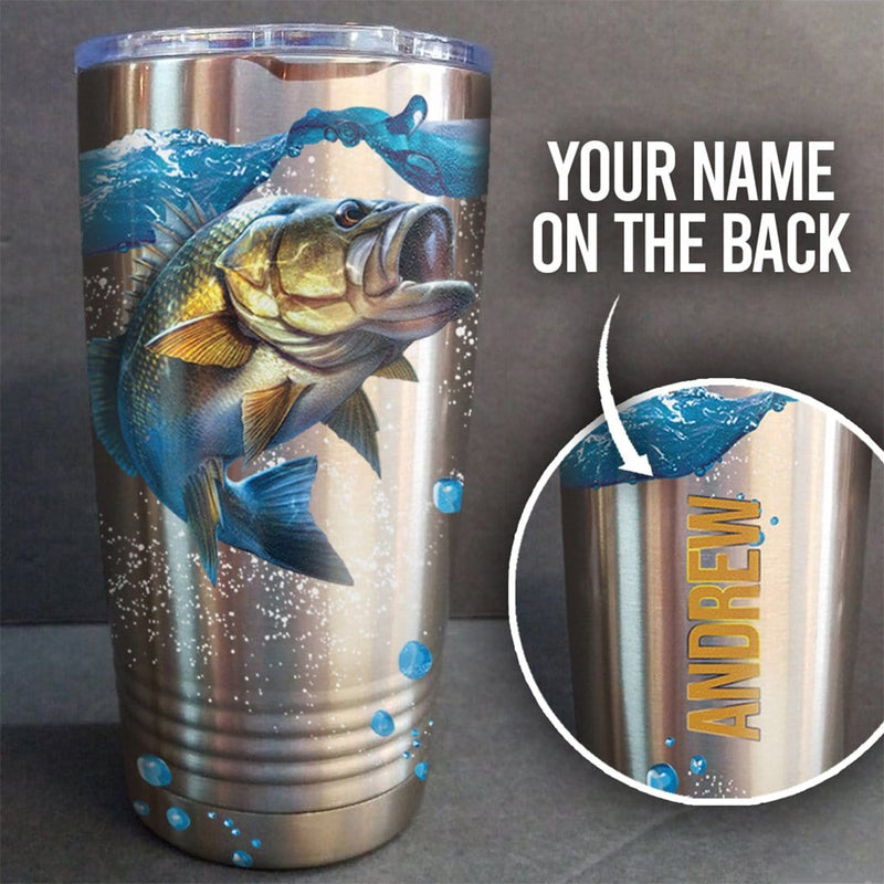 Bass Fishing Personalized Full Color Wrap Tumbler