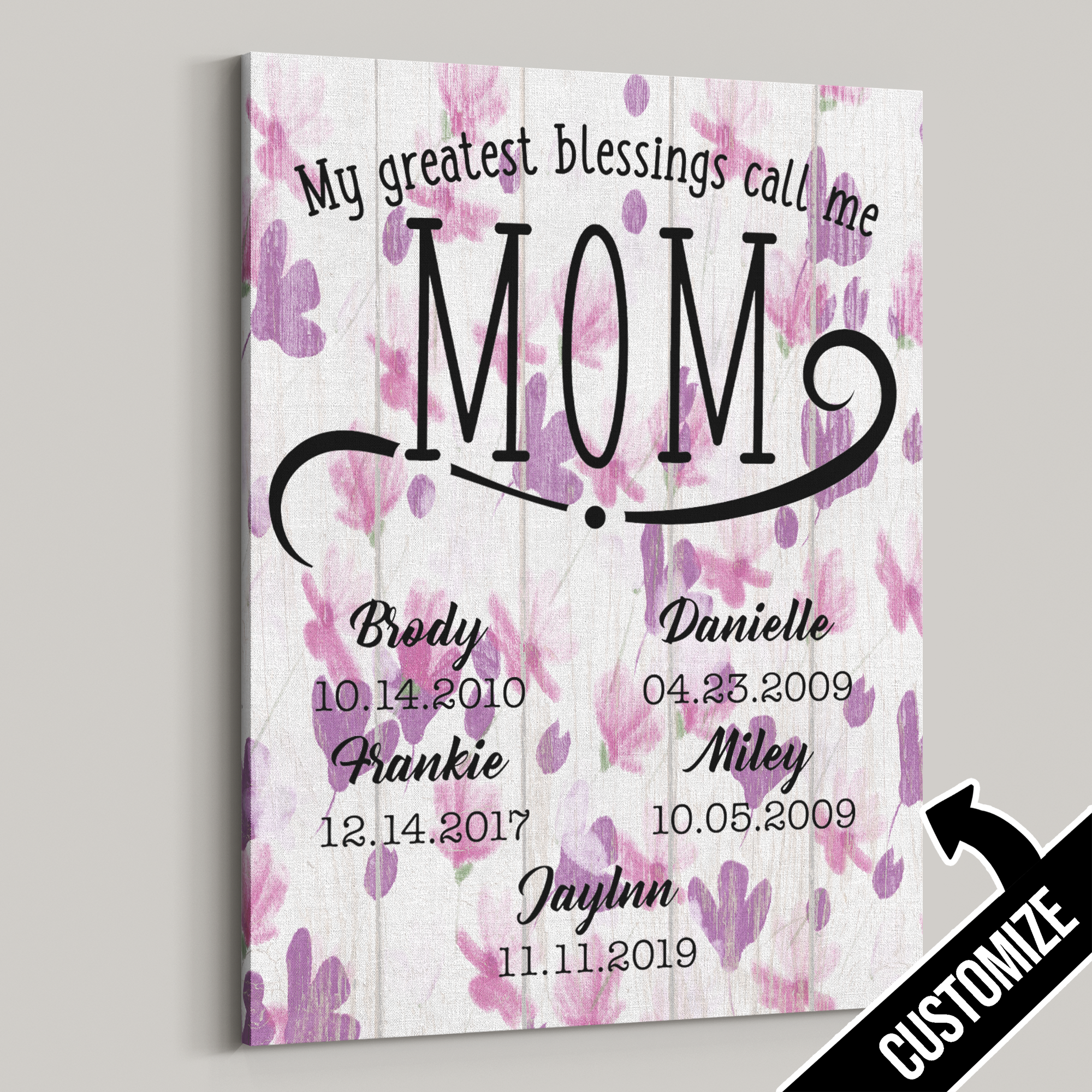 My Greatest Blessings Call Me Mom Violet Flowers Canvas - Patriot Republic