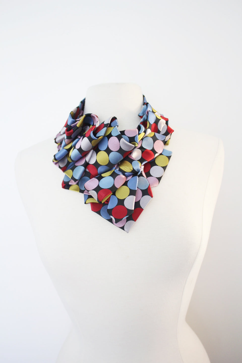 Ruffle polka dot red and black Aster handmade snap on scarf collar