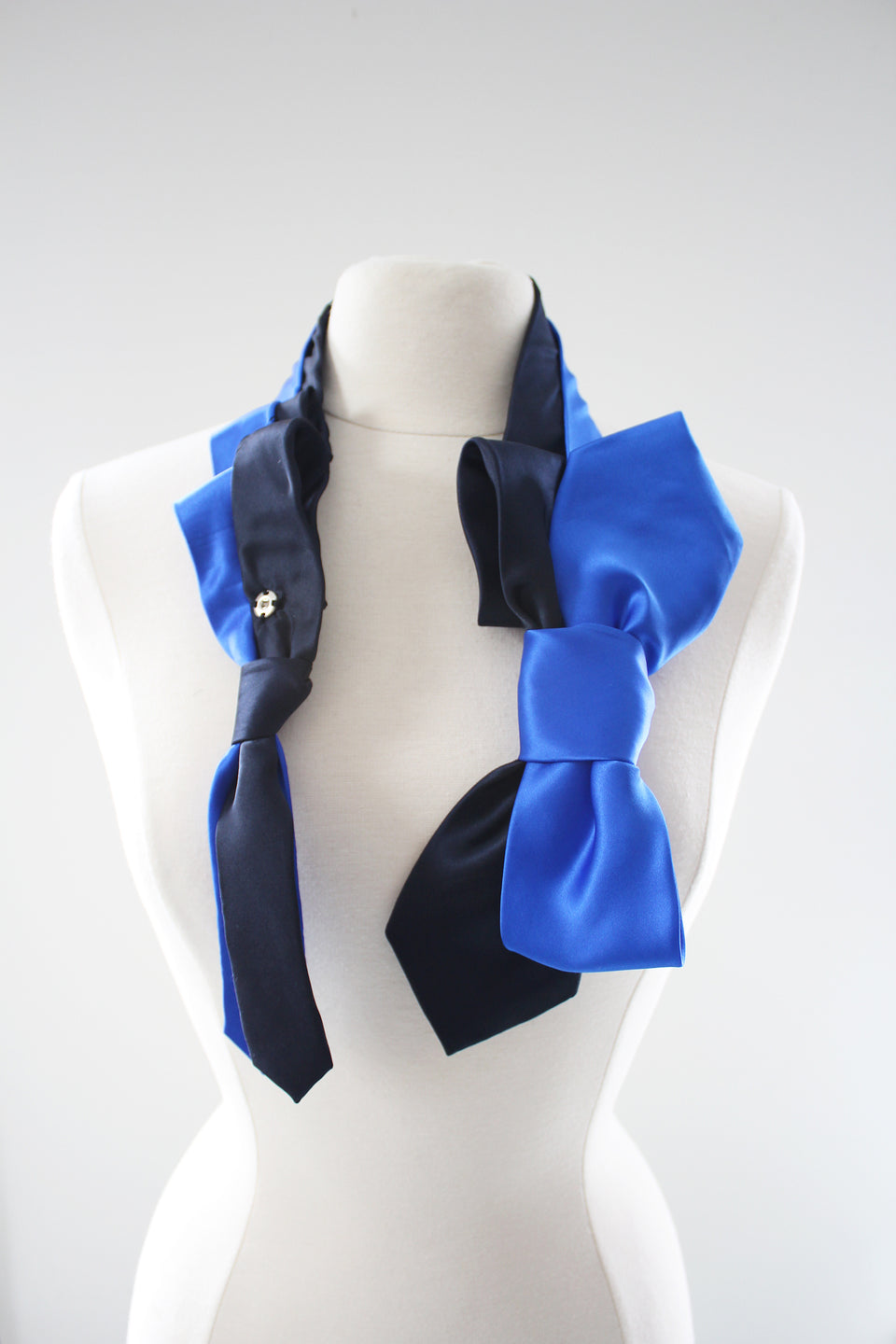 Lilian Asterfield Satin Birdie Bow Tie - Navy and Royal Blue
