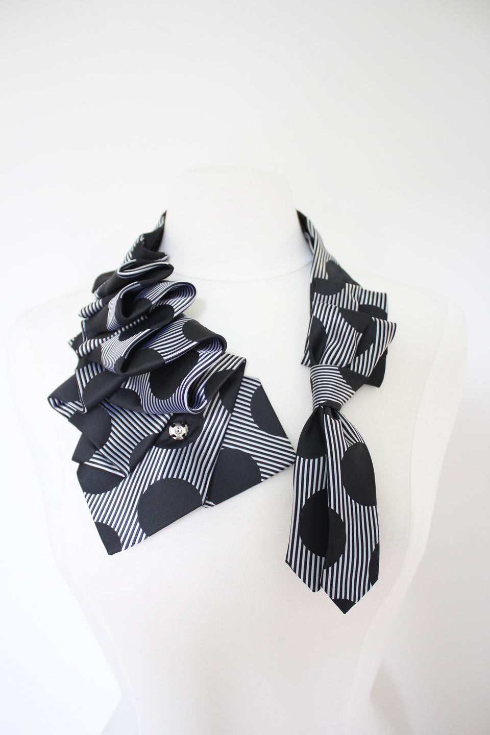 Handmade Katherine snap on ruffle scarf necklace refashioned from black polka neckties