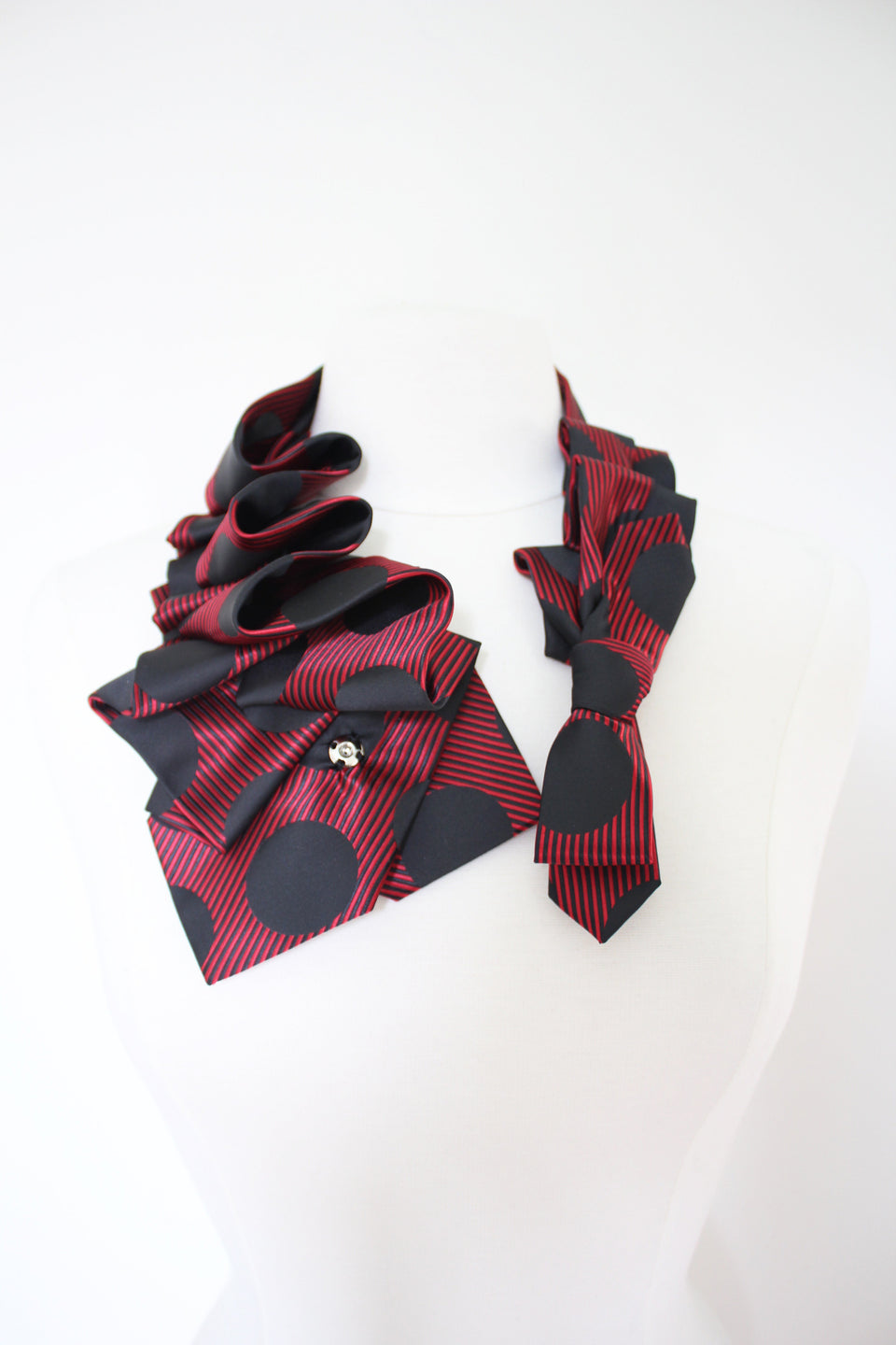 Ruffle red polka dot Aster handmade snap on scarf collar