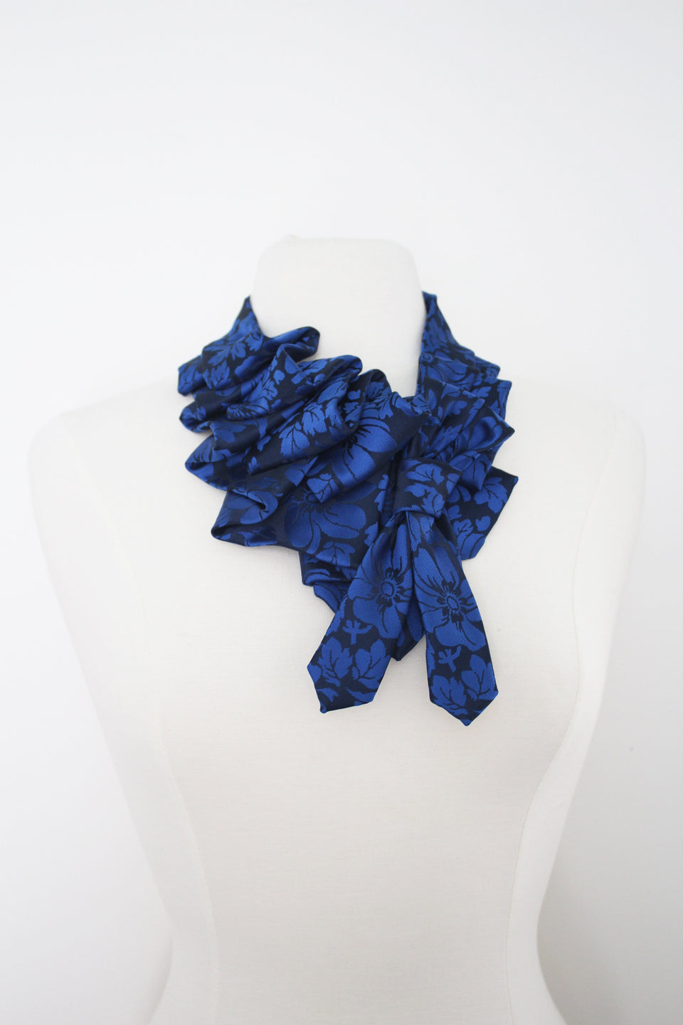 Handmade Katherine snap on ruffle scarf necklace refashioned from blue neckties