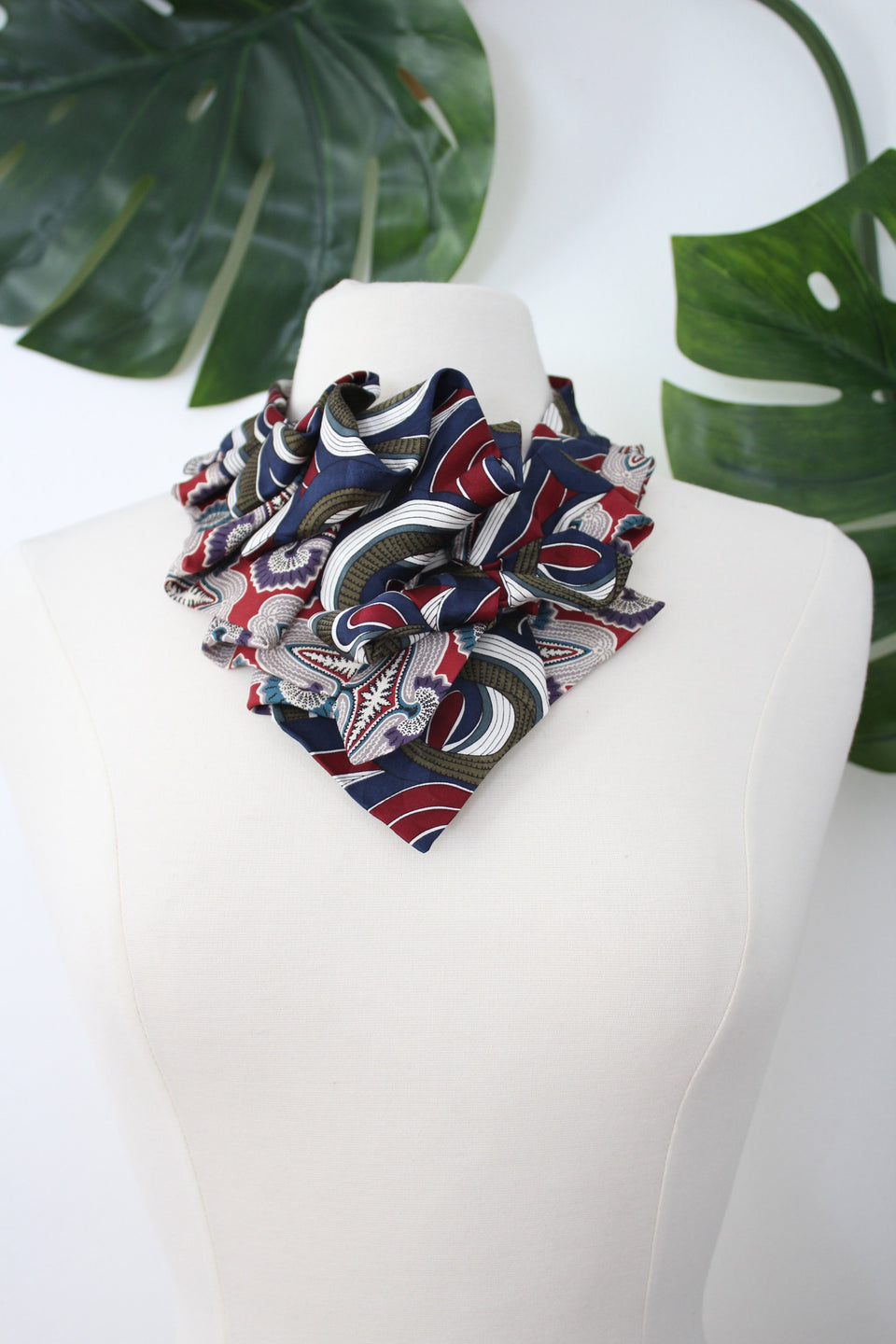 handmade aster ruffle snap on scarf refashioned from red and green vintage silk neckties