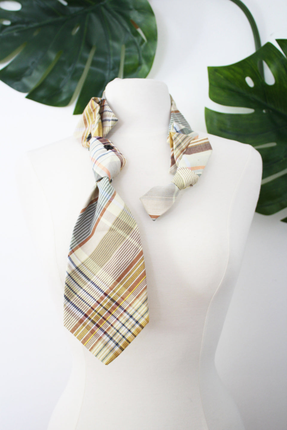 Handmade Sherlock snap on dapper ruffle scarf necklace refashion from plaid handcrafted neckties
