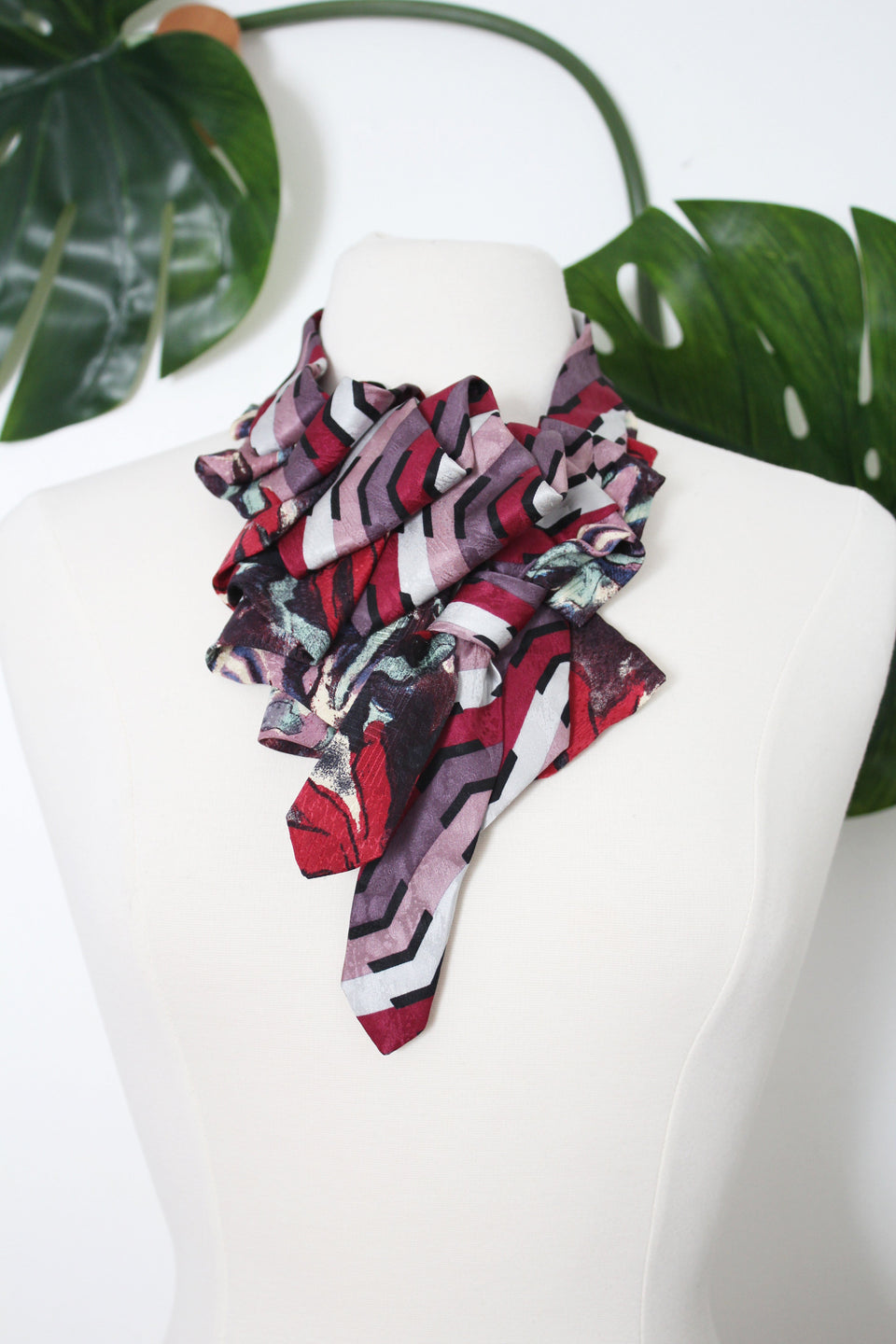 Handmade Katherine snap on ruffle scarf necklace refashion from vintage silk neckties