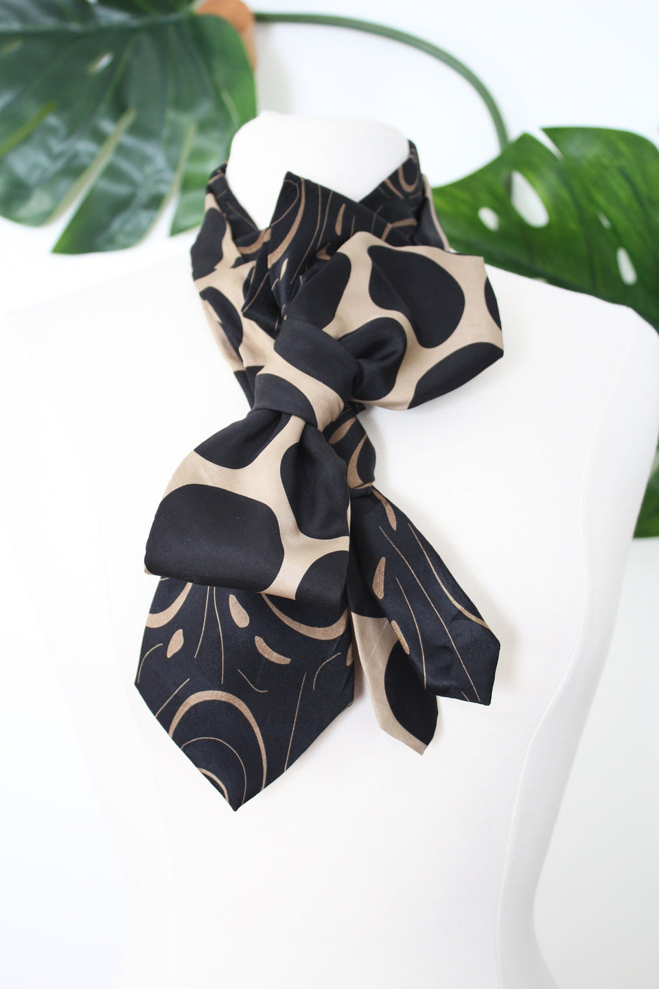 handmade Birdie ruffle snap on scarf refashioned from vintage taupe and black silk neckties styled