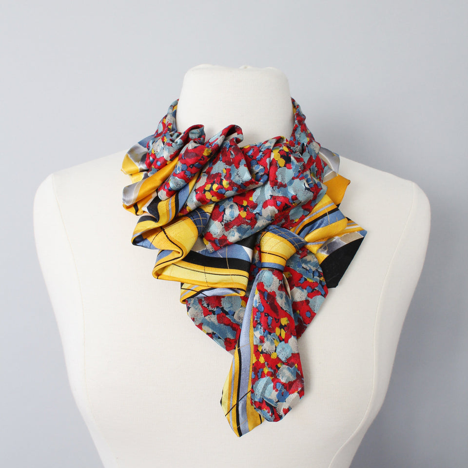 Red, blue, and yellow riffle handmade snap on necktie scarf