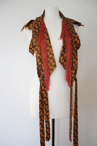 Lilian Asterfield Ooak Autumnal Leaf Fringe Vest