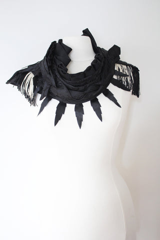 Noir - Couture Crystal and Fringe Cowl