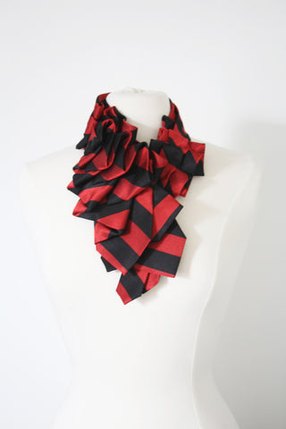 Handmade-couture-Necktie-Ruffle-Ascot-Scarf-Dandy-stripe-red-black-preppy-Fashion-Accessory