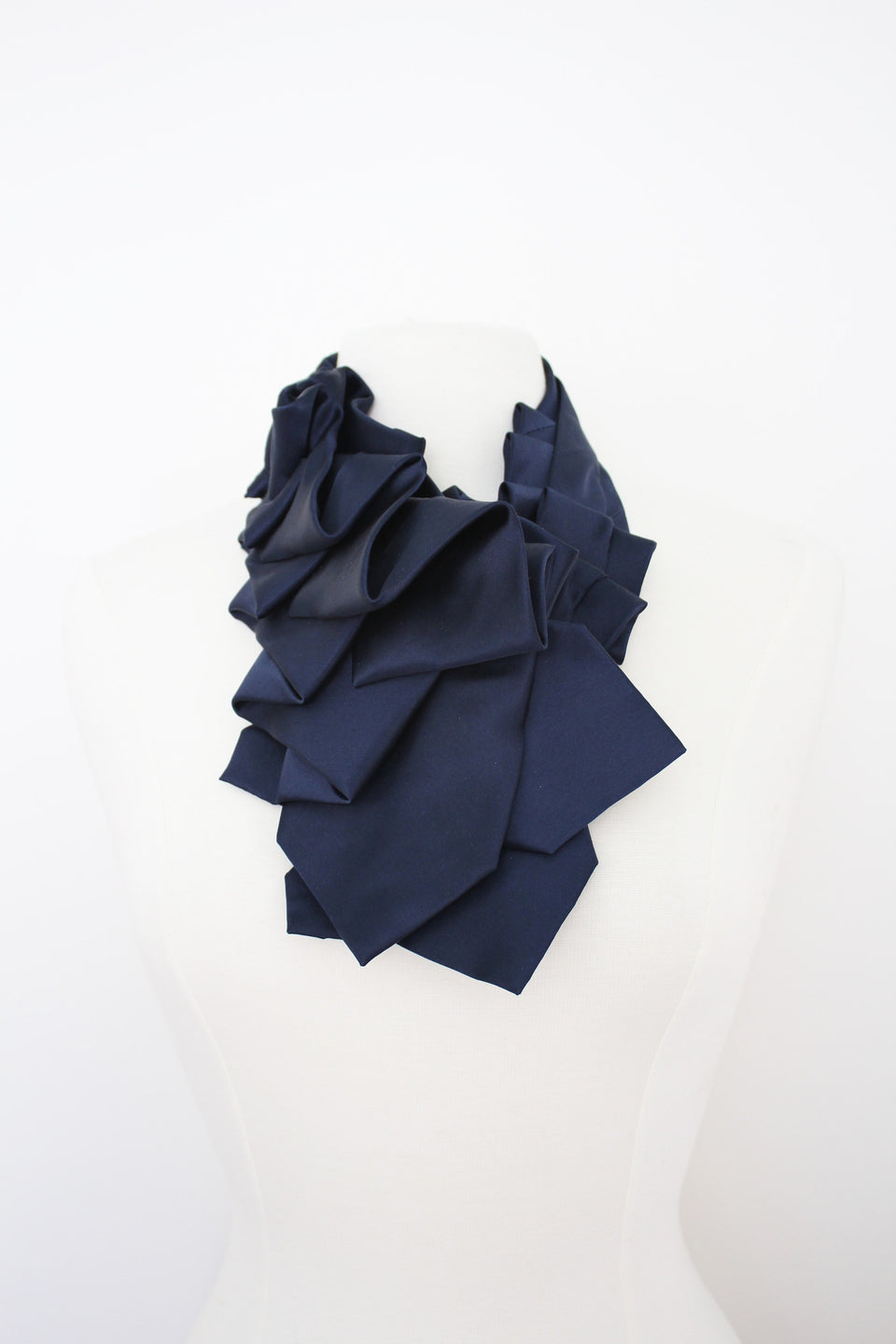 Handmade-modernmaker-curated-couture-ascot-ruffled-cravat-neckite-accessory-satin-navy-tuxedo