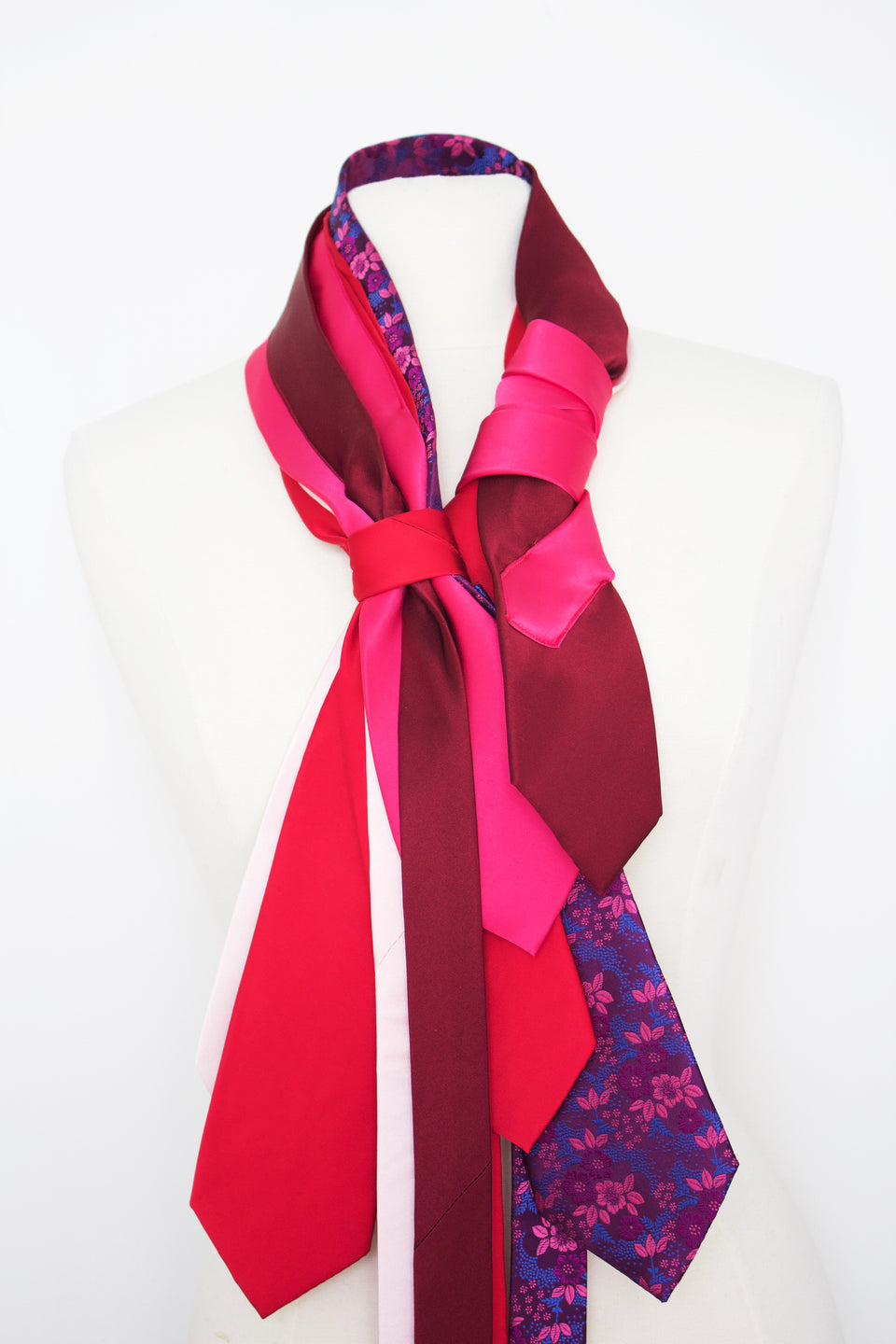 Waterfall Satin - Red and Pink