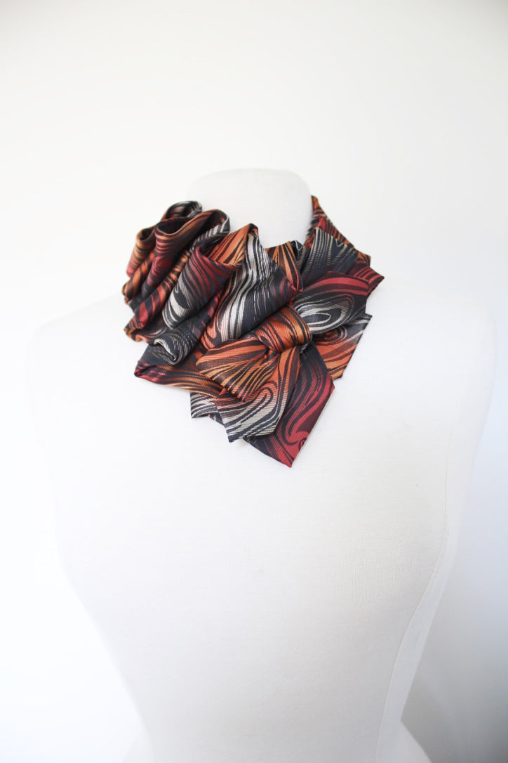 Ruffle Aster handmade snap on scarf collar