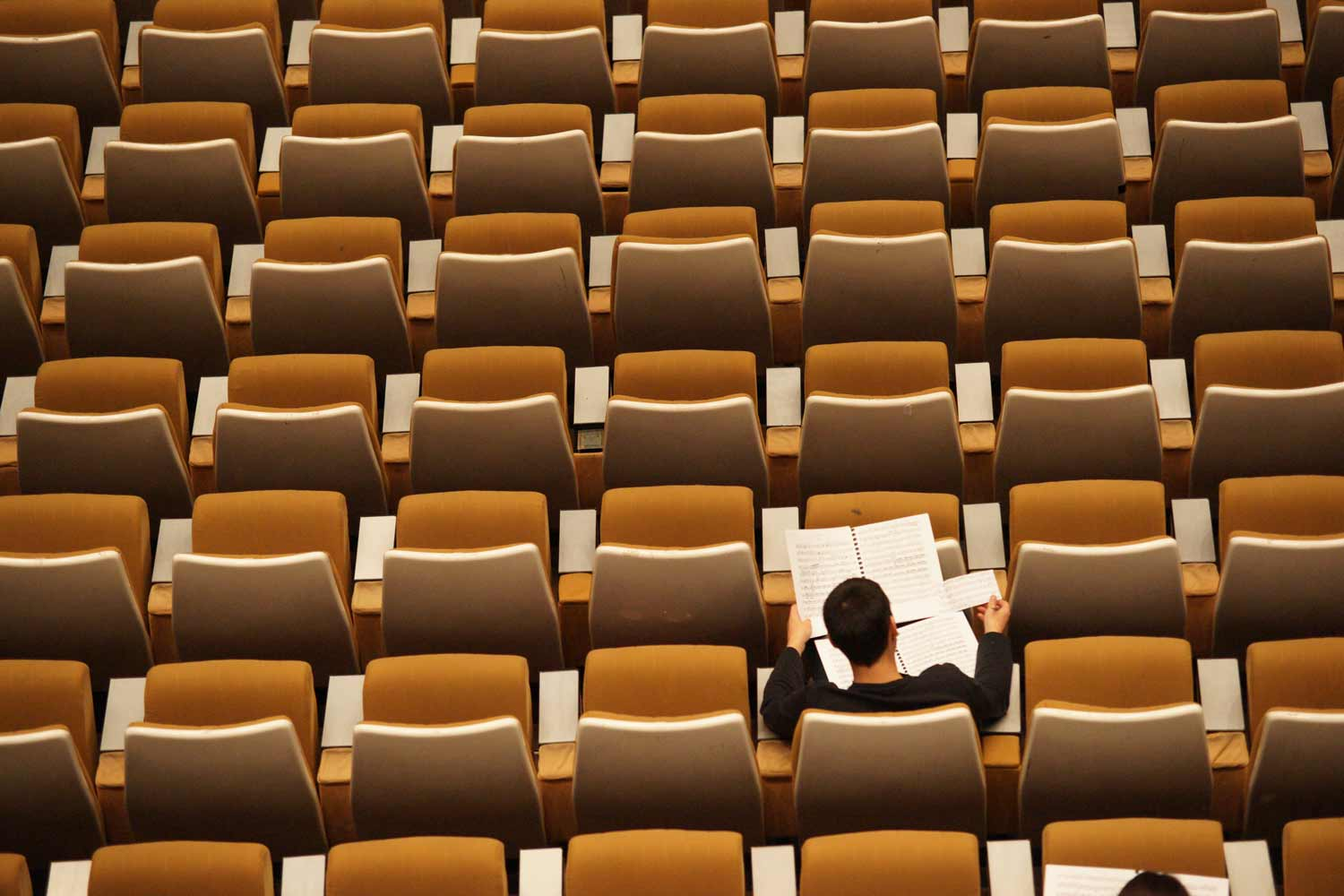 a student sitting in a lecture hall