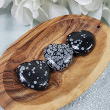 Load image into Gallery viewer, Snowflake Obsidian 30mm Puffed Heart