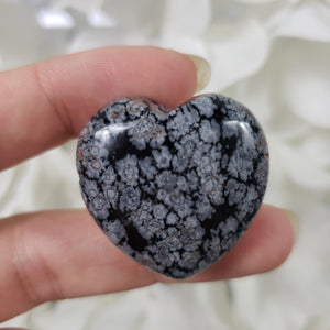 Snowflake Obsidian 30mm Puffed Heart