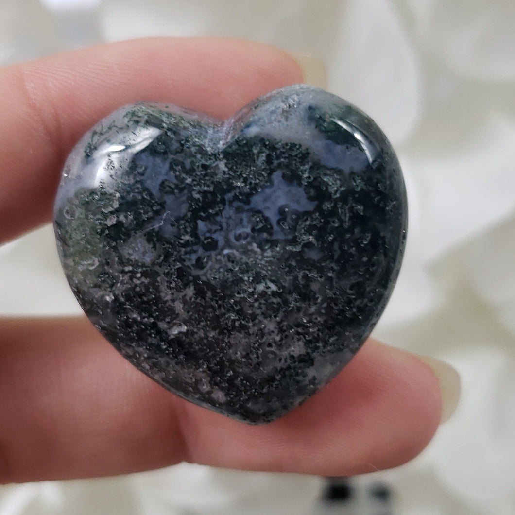 Green Moss Agate 30mm Puffed Heart