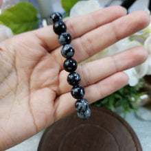 Load image into Gallery viewer, Snowflake Obsidian 9mm Stretch Bracelet