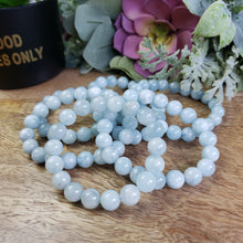 Load image into Gallery viewer, Aquamarine 10mm Beaded Bracelet