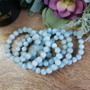 Aquamarine 10mm Beaded Bracelet